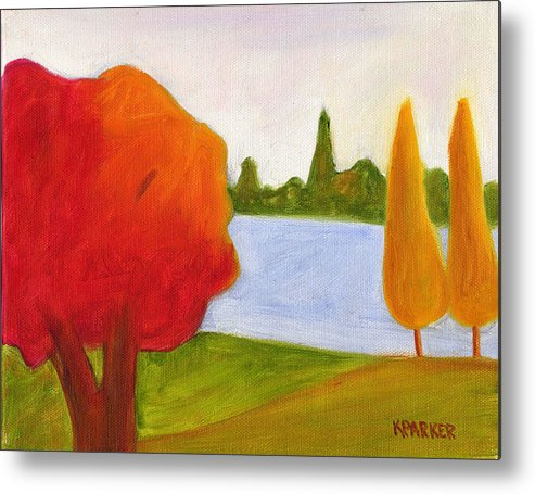 Landscape Metal Print featuring the painting Yellow Trees by Kelly Parker
