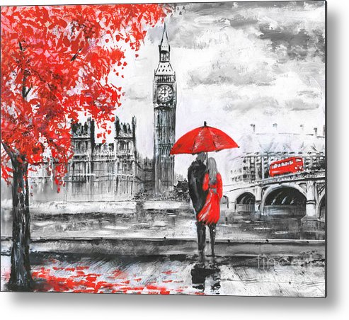 Big Metal Print featuring the digital art Oil Painting On Canvas, Street View Of 2 by Lisima