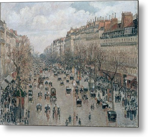 Camille Pissarro Metal Print featuring the painting Boulevard Montmartre - Afternoon, Sunlight, 1897 by Camille Pissarro