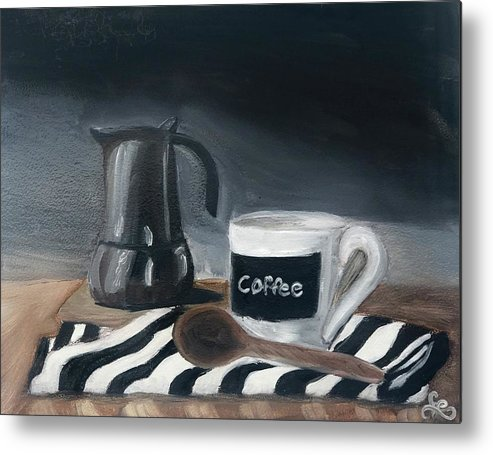 Metal Print featuring the painting Coffee Time by Fe Jones
