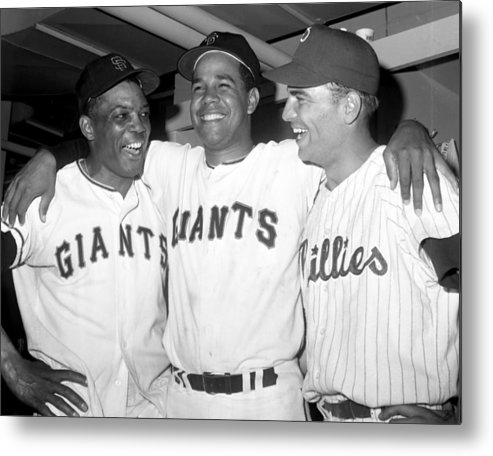 Horizontal Metal Print featuring the photograph Jubilant Nlers L-to-r Giants Willie by New York Daily News Archive