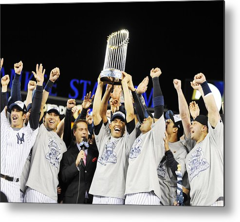 American League Baseball Metal Print featuring the photograph Mariano Rivera Holds Trophy As New York by New York Daily News Archive