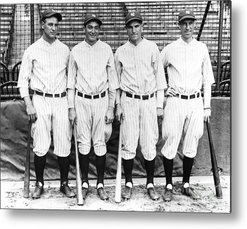 American League Baseball Metal Print featuring the photograph New York Yankee Infield 1927 by Transcendental Graphics