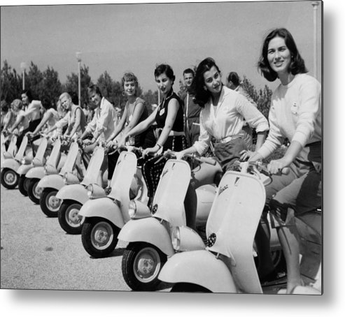 People Metal Print featuring the photograph Transport. Scooters. Pic Circa 1955. A by Popperfoto