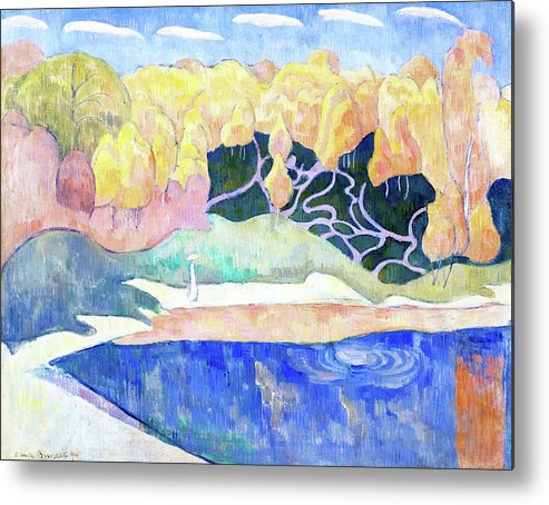 Woman Walking On The Banks Of The Aven Metal Print featuring the painting Woman Walking On The Banks Of The Aven - Digital Remastered Edition by Emile Bernard