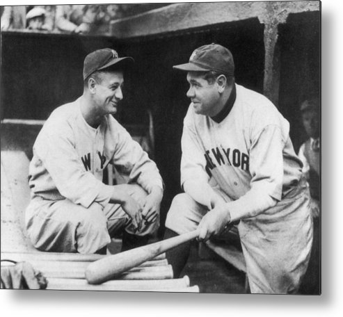 1930-1939 Metal Print featuring the photograph Lou Gehrig And Babe Ruth by Mpi