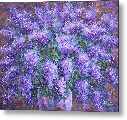 Flowers Metal Print featuring the painting Scented Lilacs Bouquet by Natalie Holland