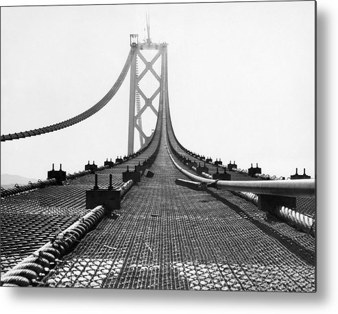 1935 Metal Print featuring the photograph Bay Bridge Under Construction by Ray Hassman