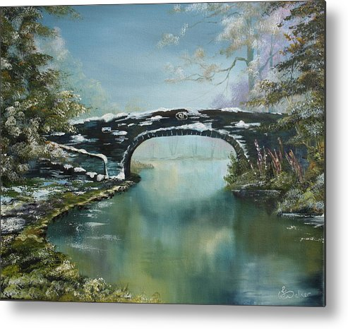 Bridge Metal Print featuring the painting Bridge 91 At Fradley Canal Staffordshire Uk by Jean Walker