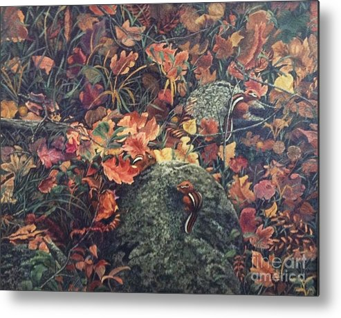 Chipmunks Metal Print featuring the painting Mary's Chipmunks by Beverly Theriault
