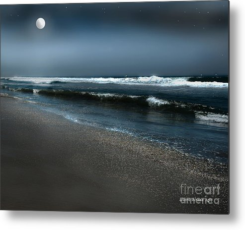 Beach Metal Print featuring the photograph Night Beach by Artist and Photographer Laura Wrede