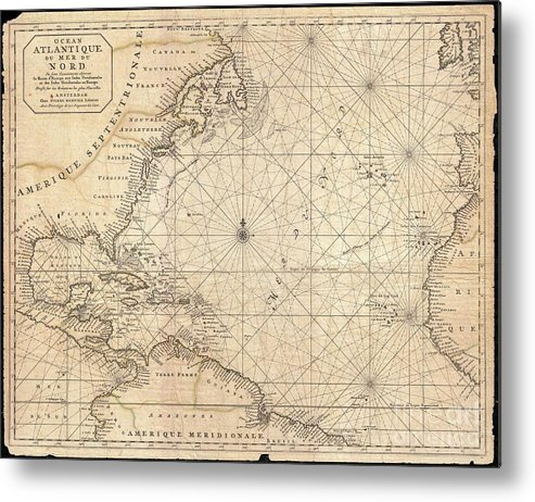 This Is A Rare And Remarkable 1693 Nautical Chart Of The Atlantic Ocean By Pierre Mortier. Covers The North Atlantic From Rough 5 Degree South Latitude To Roughly 56 Degrees North Latitude. Includes Much Of North America Metal Print featuring the photograph 1683 Mortier Map Of North America The West Indies And The Atlantic Ocean 1683 by Paul Fearn