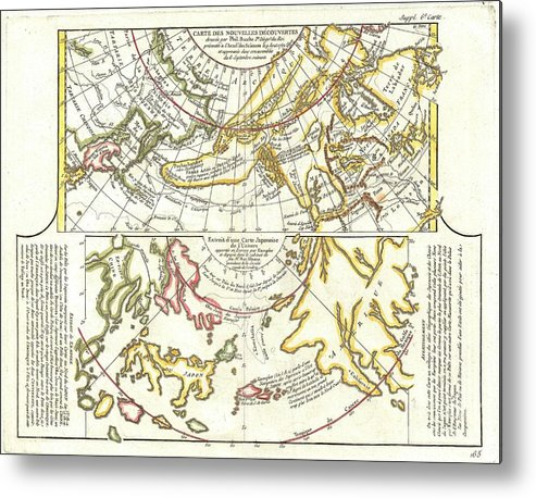 Metal Print featuring the photograph 1772 Vaugondy Diderot Map Of Alaska The Pacific Northwest And The Northwest Passage by Paul Fearn