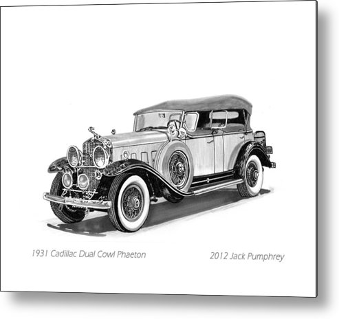Pen And Ink Art Of Classic 1931 Cadillac Dual Cowl Phaeton By Jack Pumphrey Metal Print featuring the painting 1931 Cadillac Phaeton by Jack Pumphrey