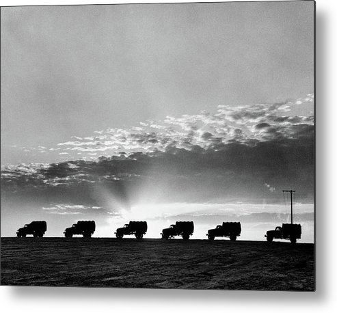 Photography Metal Print featuring the photograph 1940s Line Of Anonymous Silhouetted by Vintage Images