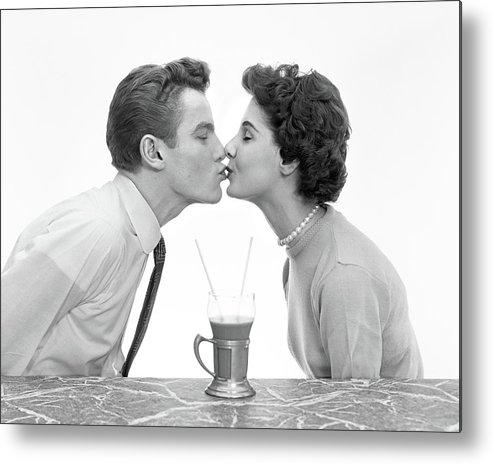 Photography Metal Print Featuring The Photograph 1950s Couple Man Woman Kissing Profile By Vintage Images