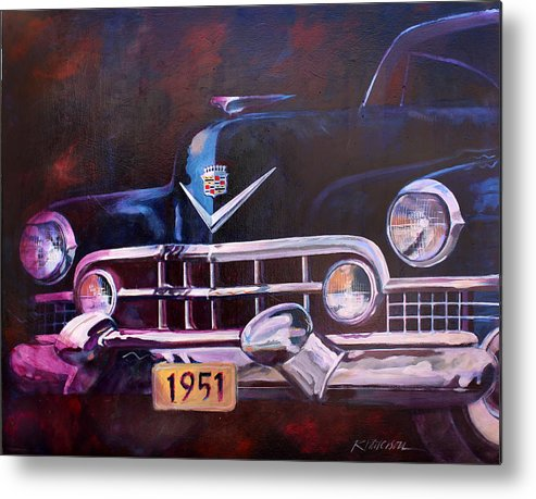 Transportation Metal Print featuring the painting 1951 Cadillac by Ron Patterson