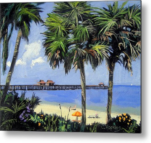 Christine Hopkins Metal Print featuring the painting Naples Pier Naples Florida by Christine Hopkins