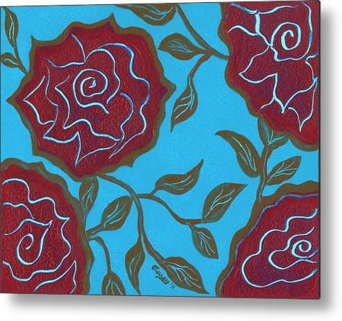 Pink Roses Metal Print featuring the painting Soul Sisters by Carey Waters