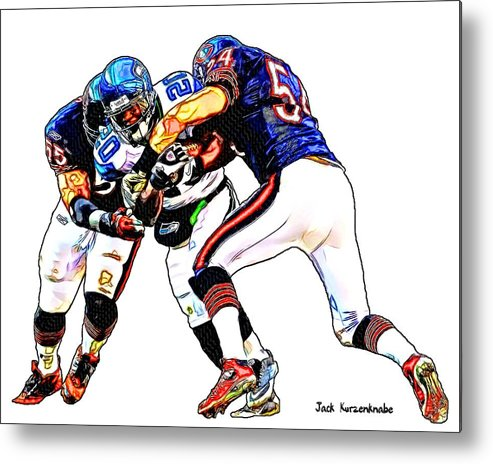 Sports Football nfl Art Nfl Pictures Art Sketch Drawings nfl Art nfl Artwork nfl Drawings nfl Sketches seattle Seahawks chicago Bears Seattle Seahawks Justin Forsett Chicago Bears Lance Briggs Brian Urlacher Metal Print featuring the digital art 335 by Jack K
