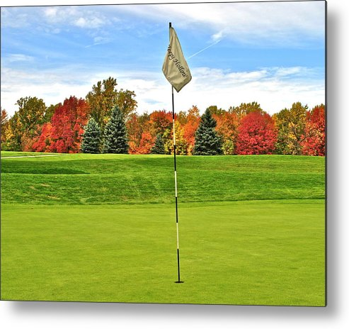 Golf Metal Print featuring the photograph Autumn Golf by Frozen in Time Fine Art Photography