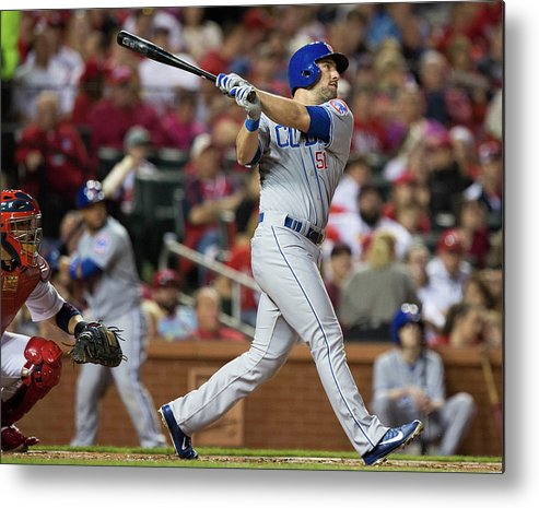 Following Metal Print featuring the photograph Chicago Cubs V St. Louis Cardinals by David Welker