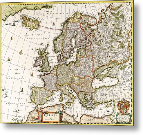 Antique Maps Of The World Metal Print featuring the painting Antique Map by Baltzgar