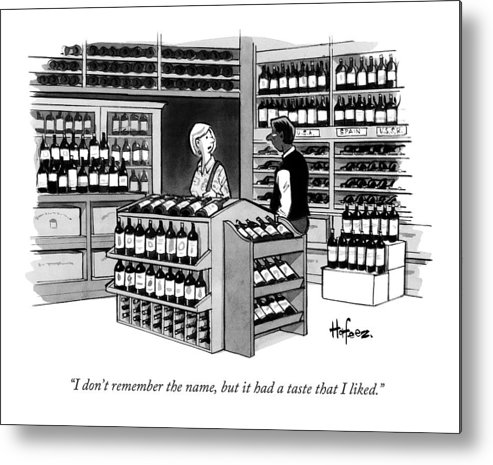 Wine Metal Print featuring the drawing A Man Talking To An Employe At A Wine Store by Kaamran Hafeez