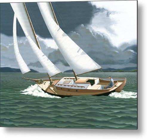 Gulf Islands Metal Print featuring the painting A Passing Squall by Gary Giacomelli