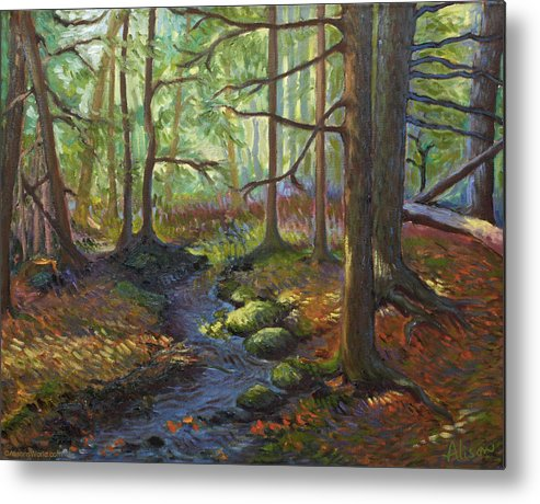 Stream Metal Print featuring the painting A Stream Of Light by Alison Barrett Kent
