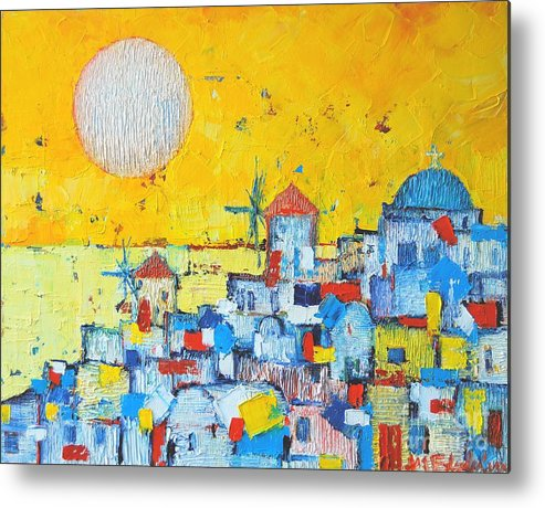 Santorini Metal Print featuring the painting Abstract Santorini - Oia Before Sunset by Ana Maria Edulescu