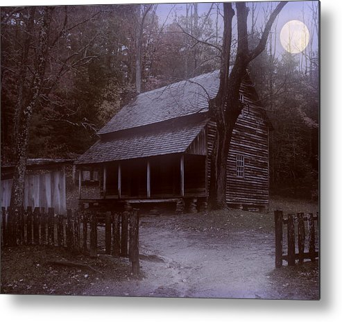 Log Cabin Metal Print featuring the digital art After Midnight by TnBackroadsPhotos