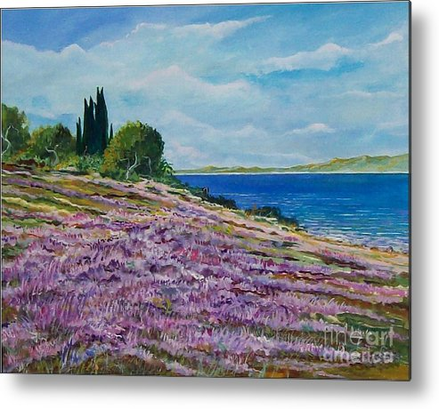 Landscape Metal Print featuring the painting Along The Shore by Sinisa Saratlic