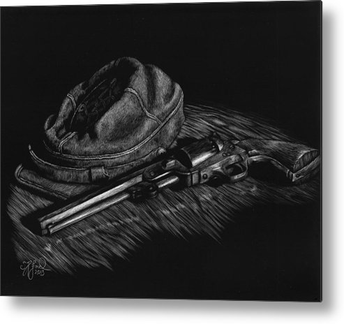 Civil War Metal Print featuring the painting An Officer's Colt by Stephanie Ford