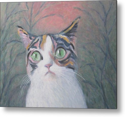 Anguish Of A Cat Metal Print featuring the painting Anguish Of A Cat by Kazumi Whitemoon