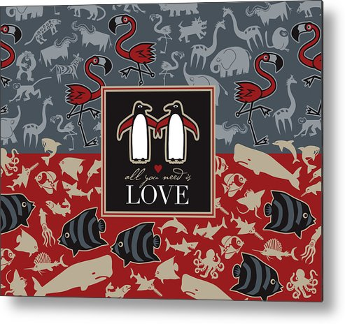 Animals Fish Birds Love Fun Metal Print featuring the digital art Animals And Love by Michael Monaghan