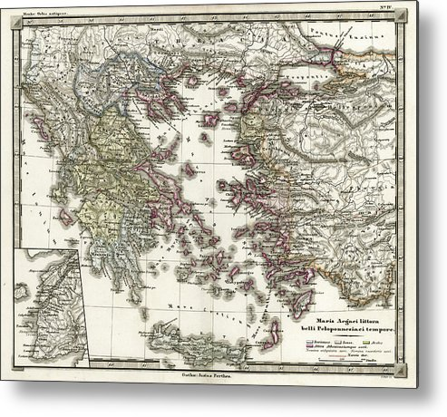 picture about Printable Map of Ancient Greece titled Antique Map Of Historic Greece Metallic Print
