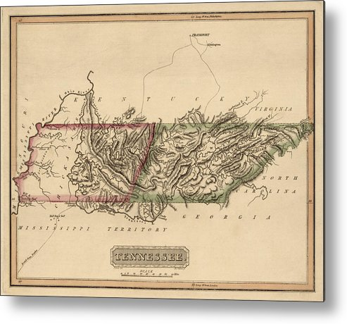 Tennessee Metal Print featuring the drawing Antique Map Of Tennessee By Fielding Lucas - Circa 1817 by Blue Monocle