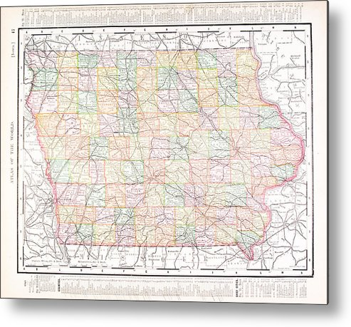 Iowa On Usa Map.Antique Vintage Color Map Of Iowa Usa Metal Print By Qingwa