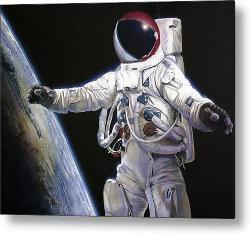 Nasa Metal Print featuring the painting Apollo 9 - Schweickart On The Porch by Simon Kregar