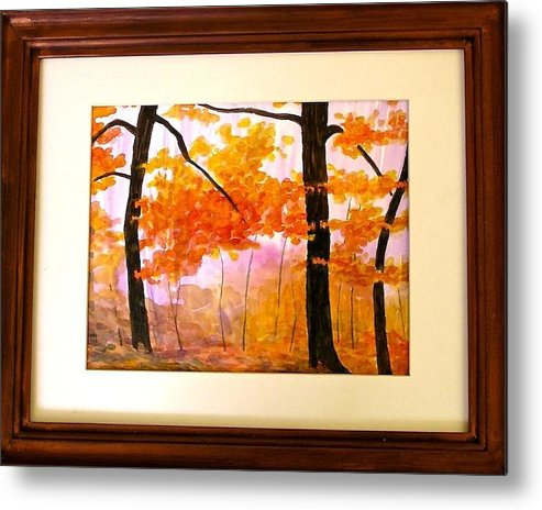 Original Watercolor Painting By Susan Hall Metal Print featuring the painting Autumn by Susan Hall