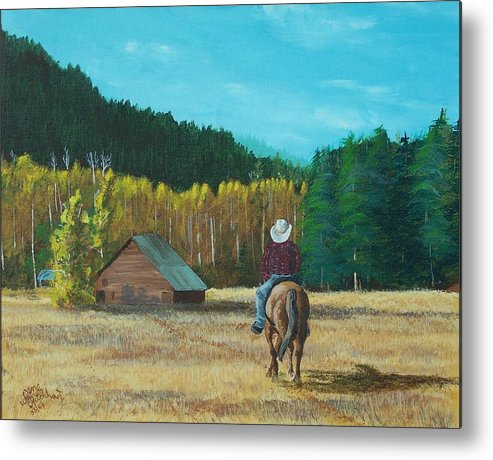 Landscape Metal Print featuring the painting Back To The Barn by Gene Ritchhart