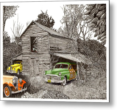 Classic Car Art Metal Print featuring the painting Barn Finds Classic Cars by Jack Pumphrey