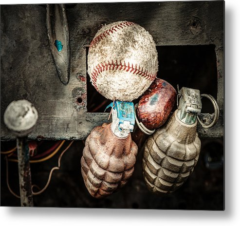 Baseball Metal Print featuring the photograph Baseball And Hand Grenades by Gary Heller