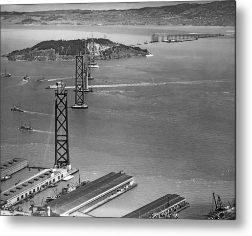 1936 Metal Print featuring the photograph Bay Bridge Under Construction by Charles Hiller