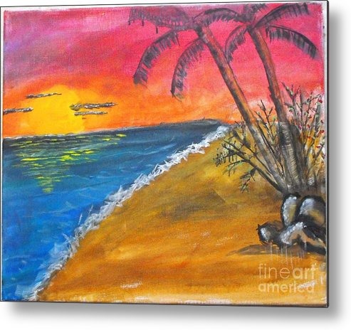 Beach Metal Print featuring the painting Beach Scene by Catherine Ratliff