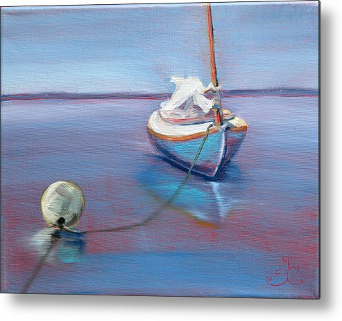 Sailboat Metal Print featuring the painting Beached Sailboat At Mooring by Trina Teele