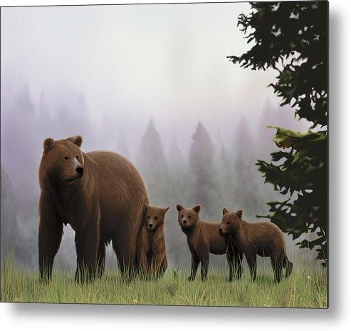 Bear Metal Print featuring the digital art Bear And Cubs by Lia Smazik