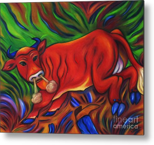 Diconnollyart Metal Print featuring the painting Big Red Bull Bucks by Dianne Connolly