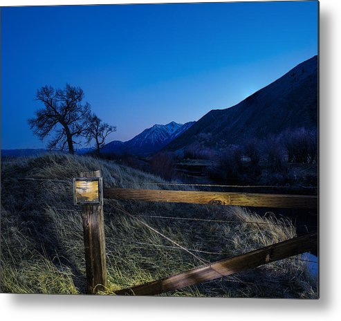 Light Painting Metal Print featuring the photograph Blank Signage by Nancy Marie Ricketts